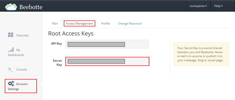 BeebotteのAccess ManagementからSecret Keyをコピーする