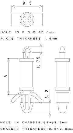 TSDKシリーズ 寸法図 ワンタッチスペーサー one-touch-spacer